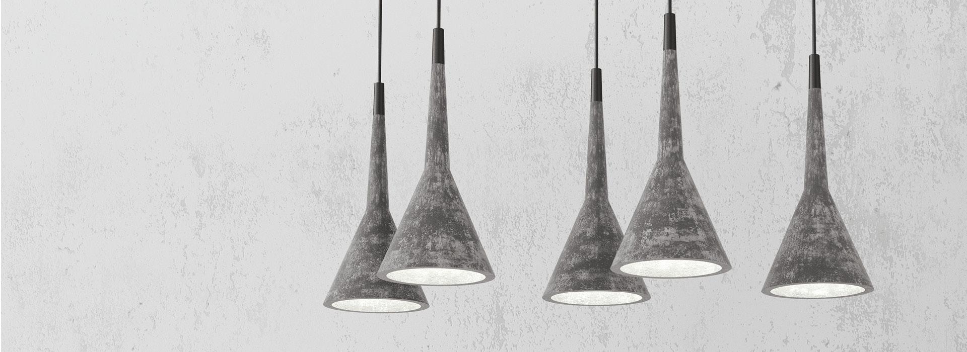 Lampen aus Beton Design, grau, marmoriert
