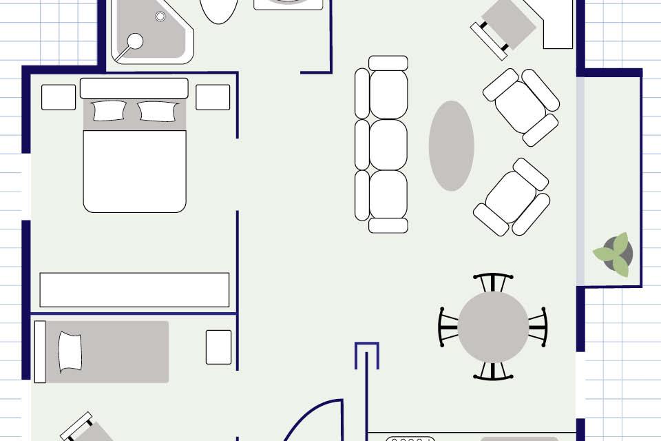 Ein Grundriss der Wohnung oder des Hauses dient als Hilfe, um sicherzustellen, dass die Möbel hineinpassen.