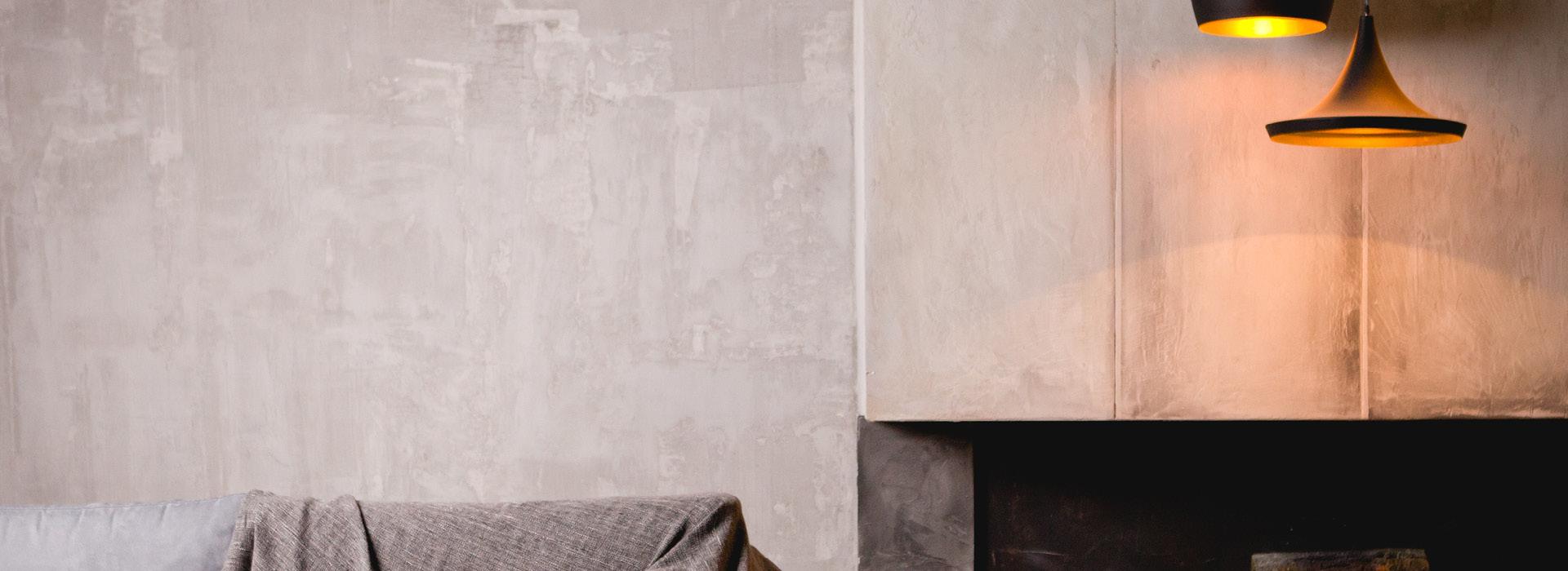 Kamin aus Beton, moderne Lichtkonzepte, modern casual
