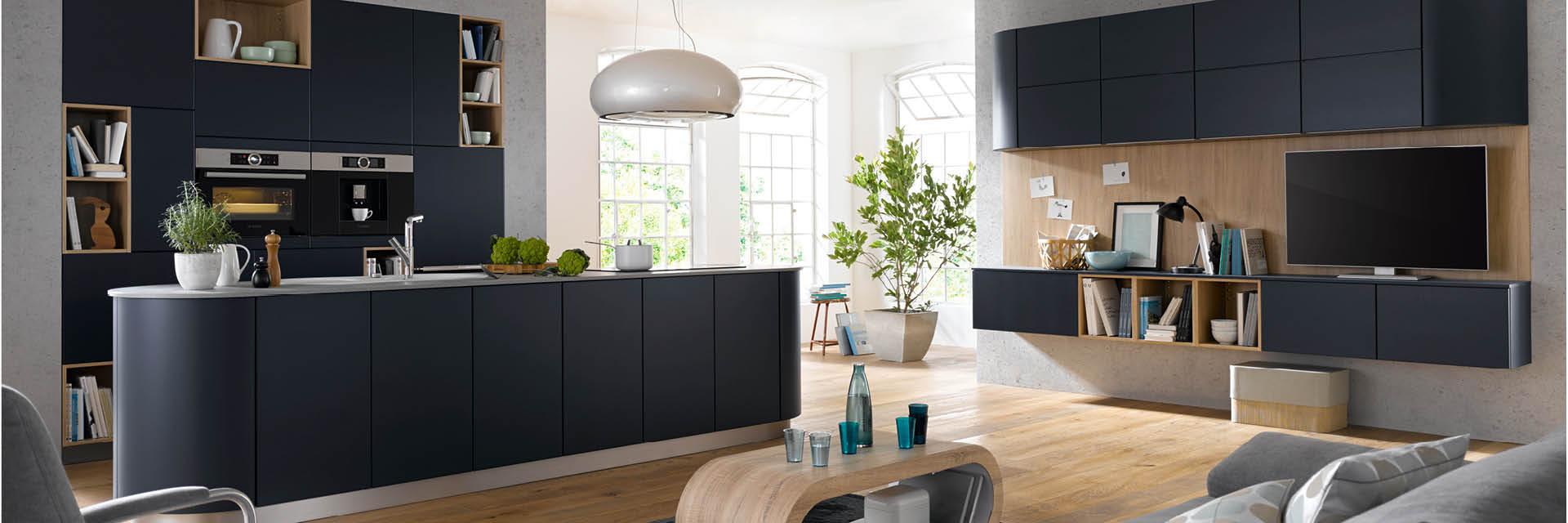 Blaue runde Küche