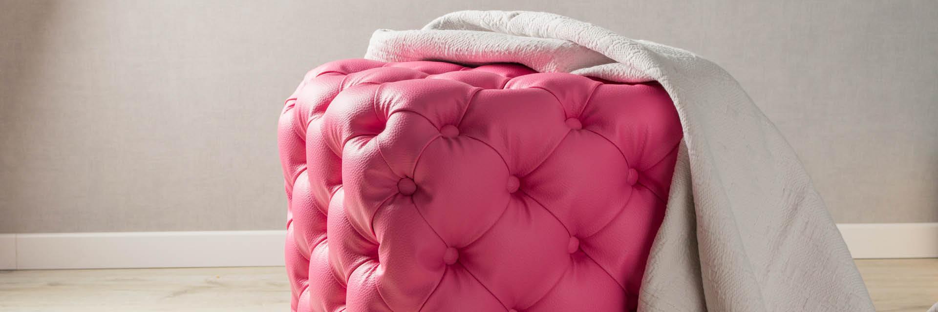 Pouf, Leder, Pink