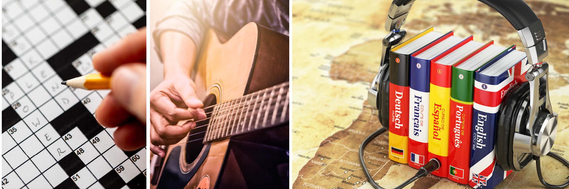 Tun Sie mal wieder etwas, was Ihnen Spaß bringt, zum Beispiel Kreuzworträtsel lösen, Gitarre spielen oder eine Sprache erlernen
